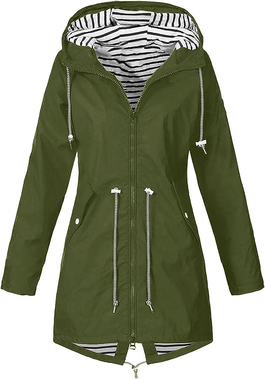 Tantisy Women Rainproof Jacket Waterproof Windbreaker Windproof Thermal Raincoat Outdoor Warm Soft Hooded Rain Overcoat