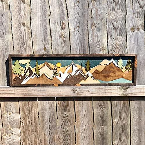 Arte de pared mural de madera hecho a mano Decoración de amanecer y atardecer Pintura de montaña tallada a mano Galería de casa moderna para decoración creativa en la oficina Dormitorio colgante
