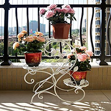 SY Classic Flower Racks Plant Stand 3-Tiered Scroll Decorative Plant Racks Metal Plant Stands Potted Plant Stand Flowers Plant Display Rack DecorationBlack/White/Bronze