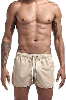 Mens Boys Short Solid Swim Trunks No Mesh Lining Quick Dry Bathing Suits Swim Shorts