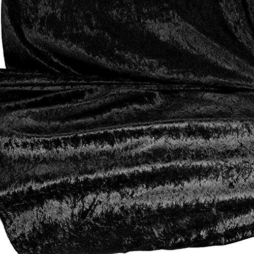 TOLKO Stoff-Ballen |10m| Pannesamt Stoffpaket - Dekostoff zum Nähen und Dekorieren (10 m x 150 cm, Schwarz)