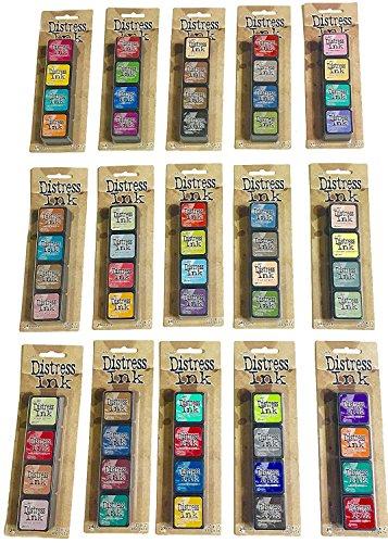 Ranger Tim Holtz Distress Mini Ink Pad Kits - #1-15, Super Bundle of all 60 Colors