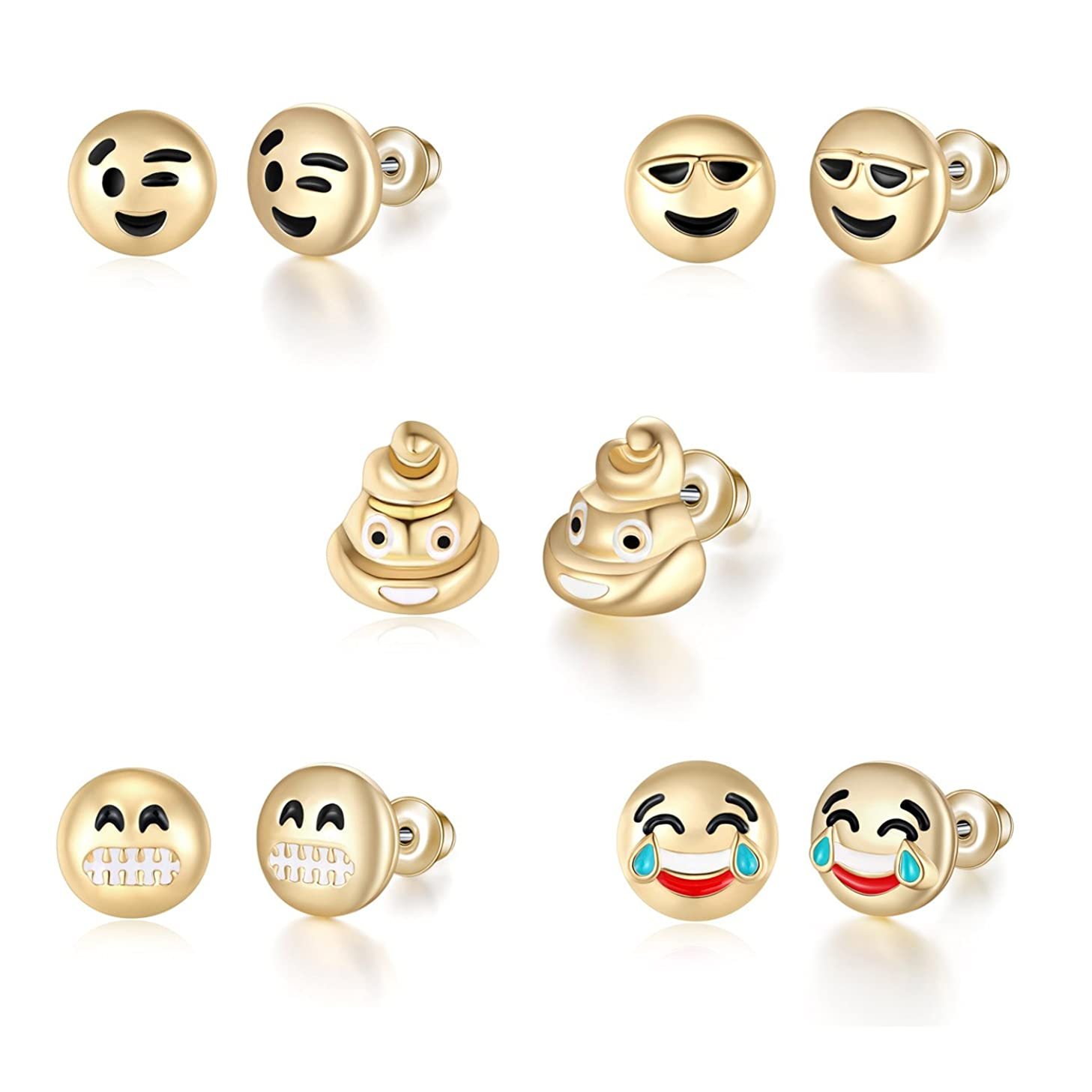 T-PERFECT LIFE 5pcs 18K Gold Plated Cute Smile Emoji Faces Charms Stud Earrings Set (cool poo poop)