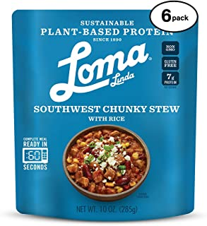 Loma Linda Blue - Plant-Based Complete Meal Solution - Heat & Eat Southwest Chunky Stew (10 oz) (Pack of 6) - Non-GMO, Gluten Free