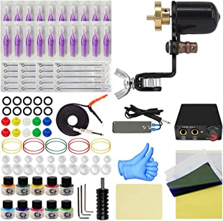 Wormhole Tattoo Machine Kit Rotary Tattoo Machine Kit 10 Tattoo Ink 20 Tattoo Needles Complete Tattoo Kit Tattoo Supplies (TK088)