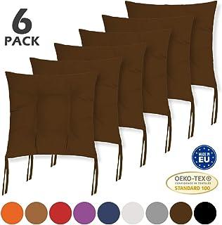 BCASE, Pack de 6 Cojines de Asiento y Silla, 40x40cm, Funda