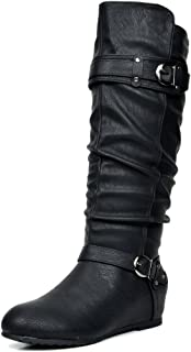 DREAM PAIRS Women's Knee High Low Hidden Wedge Riding Boots