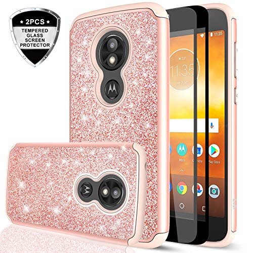 Moto E5 Play Case, Moto E5 Cruise Case (Not Fit Moto E5) with Tempered Glass Screen Protector [2 Pack] for Girls Women,LeYi Glitter Bling Hybrid Protective Phone Case for Motorola E5 Play TP Rose Gold