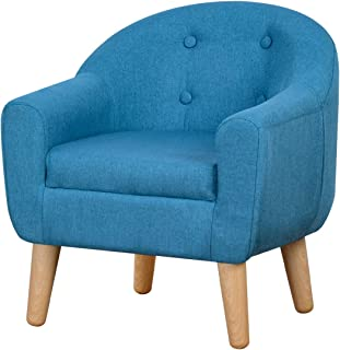 Durable Single Upholstered Kids Mini Sofa and Chair with Wooden Frame and Linen Fabric, Ideal Children Seat for Children Gift(Blue)