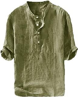 Mens Linen Henley Shirt Casual 3/4 Sleeve T Shirt Pullover Tees Lightweight Curved Hem Cotton Summer Beach Tops