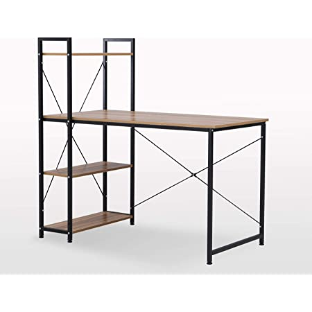 """Livinia 47"""" Modern Computer Home Office Study Desk with Shelves, Small Simple PC Table Metal Frame, Black"""