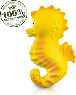 Pure Natural Rubber Baby Bath Toy - Nalu The Seahorse - Without Holes, BPA, PVC, Phthalates Free, All Natural, Textured for Sensory Play, Sealed Bath Rubber Toy, Hole Free Bathtub Toy for Babies