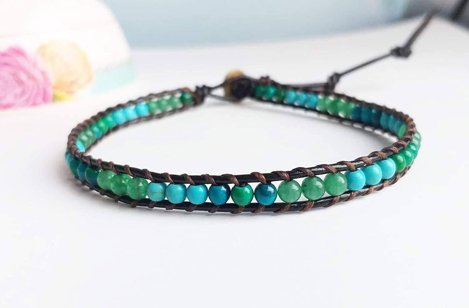 Turquoise chrysocolla green jade Ranking TOP7 stone necklaces leather Rare choker
