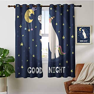 PRUNUSHOME Unicorn with Rainbow Hair Bedroom Blackout Curtains, Window Curtain Tiers for Cafe, Bath, Laundry, Bedroom(Set of 2 Panels,42 by 45 Inch)