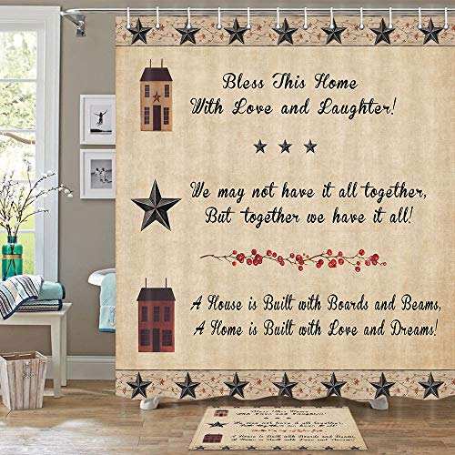 DYNH Primitive Country Bathroom Shower Curtain Set with Rugs, Country Western Stars on Rustic Wooden Funny Shower Curtain Set, Country Shower Curtain 70 in, Indoor Floor Flannel Mat Bath Rugs 60x40cm