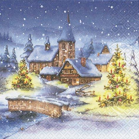 20 Tovaglioli Con Motivo Villaggio Natalizio, Villaggio Di Natale In Inverno, Natale, Paesaggio, Paesaggio Invernale, 33 X 33 Cm