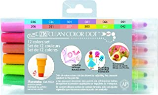Kuretake TC-6100/12V Zig Clean Dot Pens Water Based Marker, 12 Colors Set