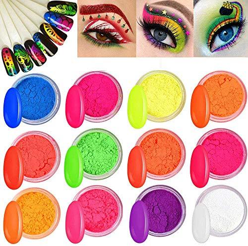 Kalolary 12 Boxen Neon Farbe Nagelpulver Pigment Nagelpulver, bunt fluoreszierendes Pulver Regenbogen Nagel Glitter für DIY Nageldekoration