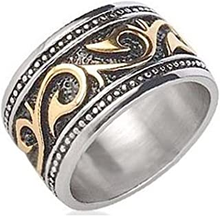 Tribal Ring For Men - Stainless Steel Ring with 14K Gold IP - Rings for Men - (12mm). Celtic Irish Steel wedding band, wedding ring or Anniversary Ring. Stainless Steel Gothic Mens Rings size 8, 9, 10, 11, 12, 13 and are comfort fit.