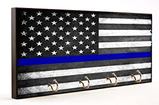 Police Officer Gift Thin Blue Line Subdued American Flag Key Hanger