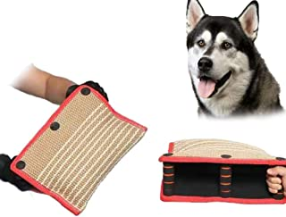 Jzenzero Jute/Linen Dog Bite Wedge Bite Pillow with 3 Handles Tug Training Toy