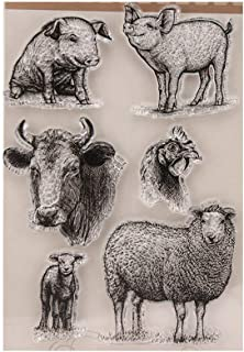 4.1 by 5.9 Inches Pig Cow Sheep Clear Rubber Stamps for Scrapbooking Card Making Christmas Craft Stamps