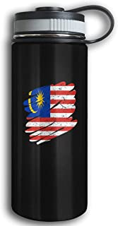 Kkidj Ooii Malaysia Flag 17oz Stainless Steel Vacuum Insulated Water Bottle with Leak-Proof Cap