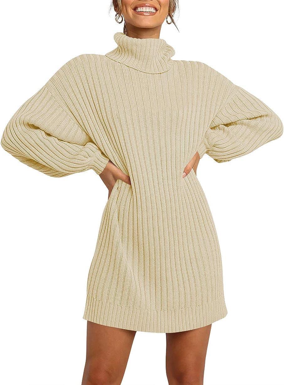 Margrine Women Turtleneck Long Lantern Sleeve Casual Loose Oversized Sweater Dress Soft Warm Pullover Dresses