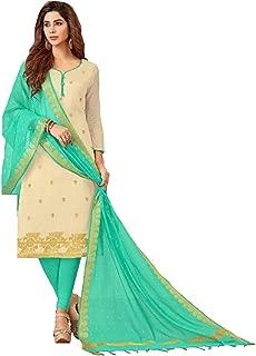 Queen's Mart Women's Women's Banarasi Art Silk Jacquard Un Stitched Salwar Suit with Silk Dupatta - Free Size