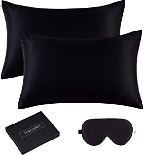 JUSPURBET 6A Grade Silk Pillowcase for Hair and Skin with 1 Slik Eye mask Gift Box, Pack of 2 100% Mulberry Silk Pillow Covers and Hidden Zipper,19mm,Queen,White (King, Black)