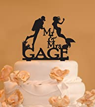 Personalized Scuba Diver and Mermaid wedding cake topper Custom Mr and Mrs scuba diving Cake Topper Mermaid Scuba diving