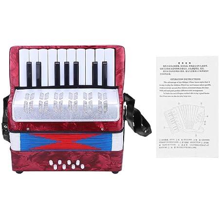 Accordéon pour enfants, accordéon accordéon à 17 basses 8 touches avec sangle réglable, instrument de musique éducatif jouet accordéon pour étudiants débutants(rouge)