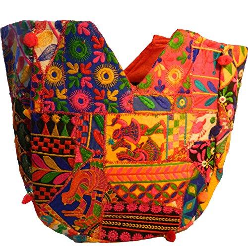 Indische Baumwolltasche bunt Pfau Stickereien Spiegel Tasche Accessoire
