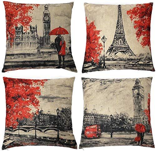 LAXEUYO 4er Set Kissenbezug 45x45 cm, Eiffelturm Big Ben Kissenhülle Dekorative Baumwolle Leinen Dekokissen mit Verstecktem Reißverschluss Sofa Schlafzimmer Auto