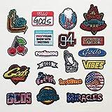Parches para planchar/Patch Sticker, aplicado para la camiseta jeans Ropa Chaqueta Mochila Bolso y zapato, insignia con letra 20PCS