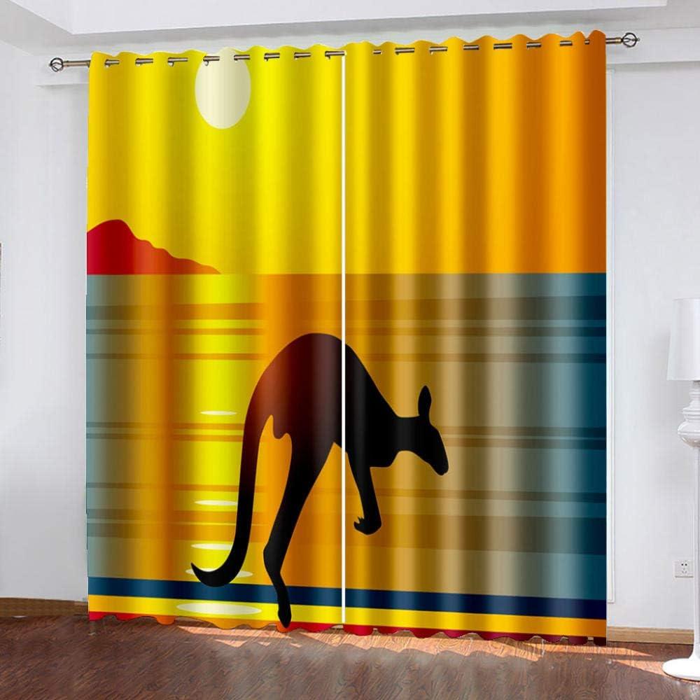 3D Digital Printing Curtains Kangaroo Cheap bargain half Prin Beach 280Wx245H cm