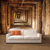Papel pintado deco.deals con diseño de foto de minas de sal y troncos de madera, estilo salvaje oeste, 366x 254cm