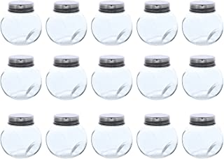 Clear Glass Jar - 15-Pack Mini Slanted Candy Jars with Screw on Lids for Wedding Decoration, DIY, Home, Party Favors, 3.4-Ounce
