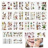 SWECOMZE 30 hojas de tatuajes infantiles, pegatinas de regalo de Navidad, resistentes al agua, tatuajes para niños y niñas en festivales, fiestas, regalos, obsequios, decoración