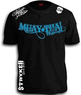 Muay Thai Fighting Blue White Logos Black MMA UFC Tapout BJJ T-Shirt