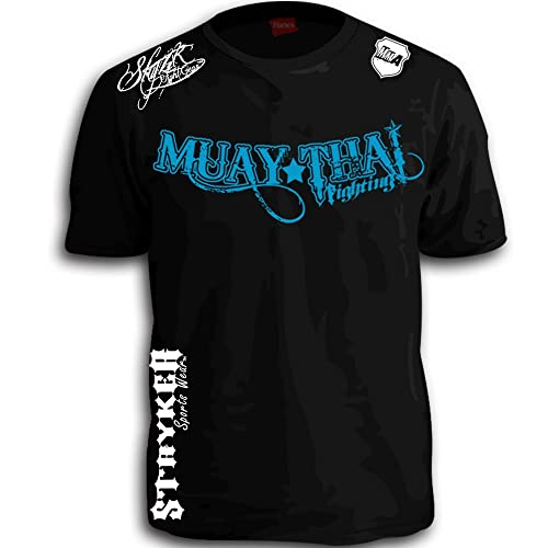 d690a7e2ee Muay Thai Fighting Blue White Logos Black MMA UFC Tapout Bjj T-shirt Brand  New