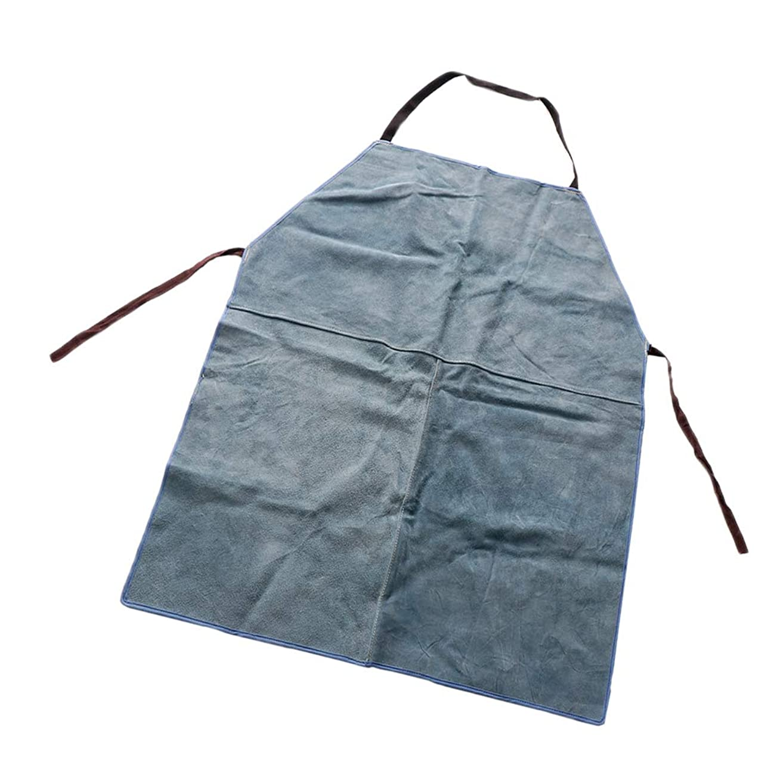 山岳シアースイB Baosity 溶接保護エプロン 調整可能 耐火性 断熱 牛革 スパッタ防止 - 青