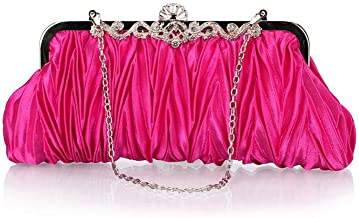 Bundle Monster Womens Vintage Satin Cocktail Party Handbag w/Shoulder Chain-PINK