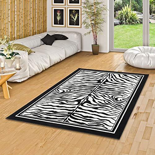 Pergamon Teppich Modern Trendline Schwarz Weiss Zebra in 4 Größen