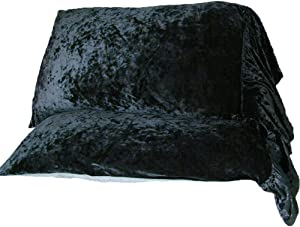 Rayroger Velvet Ruffled Edge Mermaid Style Pillow Shams Shabby Chic French Country Pillow Cases Double-Sided Backed in Washed Cotton Standard/Queen Size Black (19x29inches)-Set of 2
