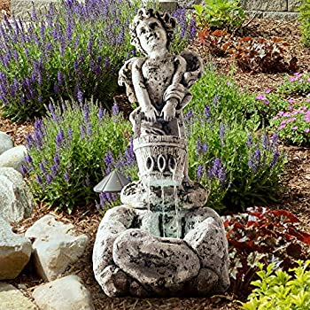 Outdoor Water Fountain With LED Lights Lighted Cherub Angel Fountain With Antique Stone Design for Decor on Patio Lawn and Garden By Pure Garden