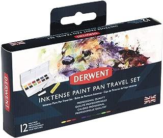 Derwent Inktense Watercolor Paint Set, Paint Pan Water Color Travel Set, Includes 12 Vibrant Colors, Water Brush and Sponge, Art Supplies (2302636)