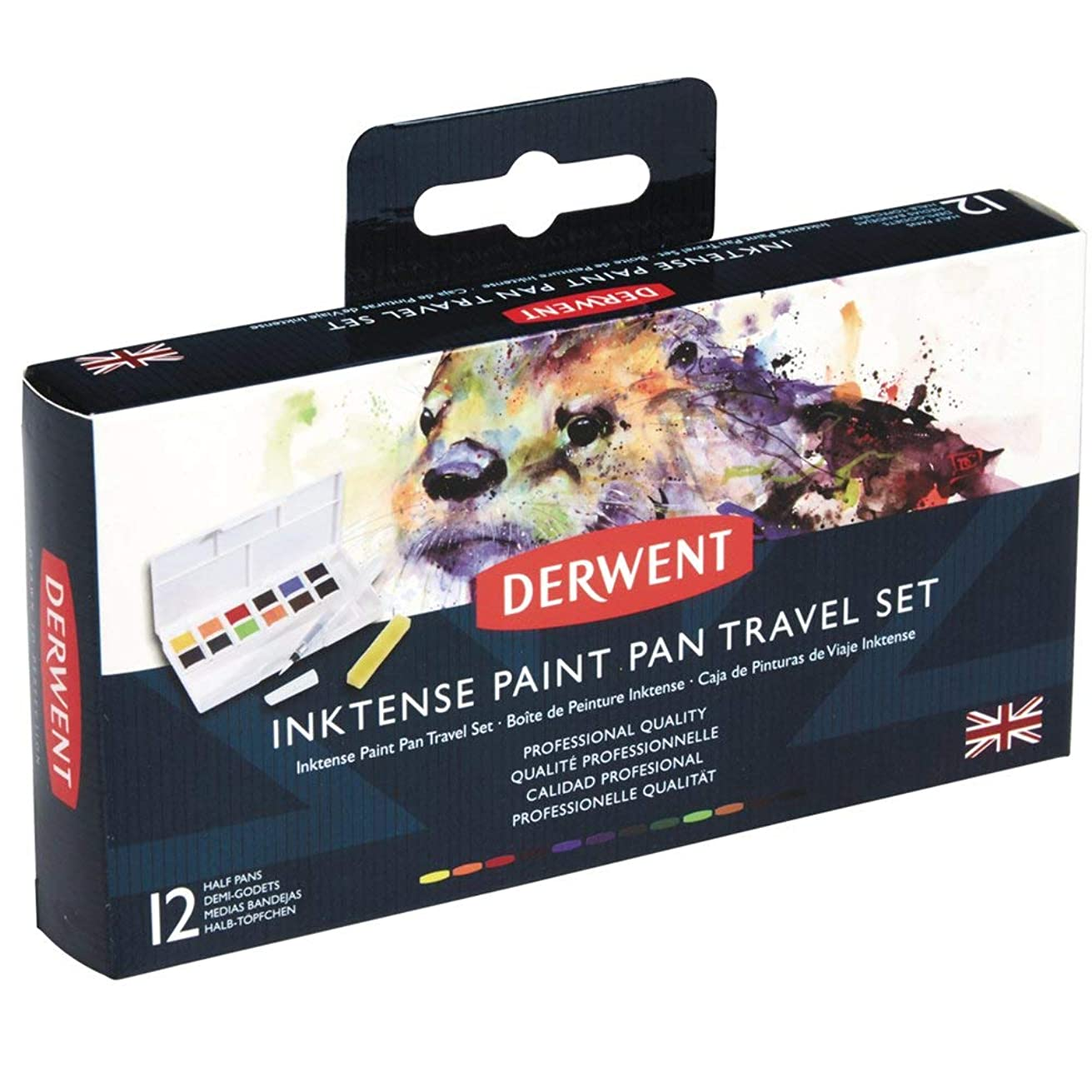 Derwent Inktense Watercolor Paint Set, Paint Pan Water Color Travel Set, Includes 12 Vibrant Colors, Water Brush and Sponge, Art Supplies (2302636)