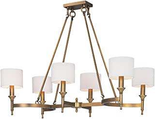 Chandeliers 6 Light Bulb Fixture with Natural Aged Brass Finish Metal Material Candelabra Bulbs 22 inch 240 Watts