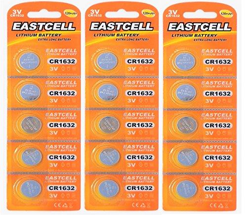 EASTCELL 15 x CR1632 3V Lithium Knopfzelle 120 mAh (3 Blistercards a 5 Batterien) EINWEG Markenware (FBA)